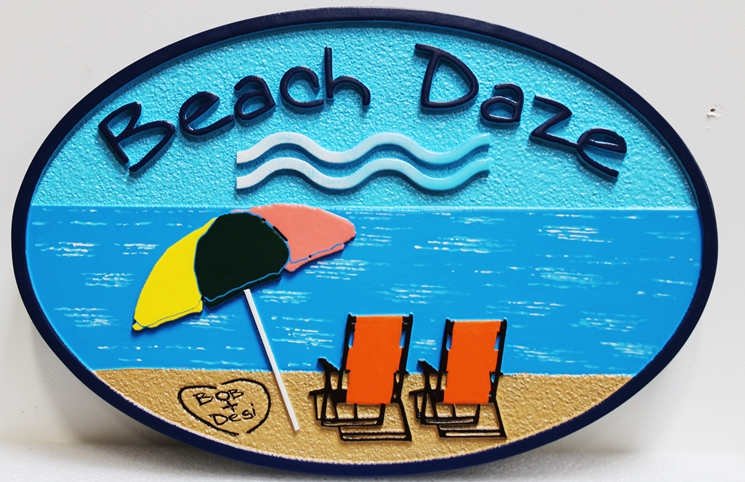 """L21021 -  Carved and Sandblasted   Beach House Sign, """"Beach Daze"""", with Two  Chairs and Umbrella'"""
