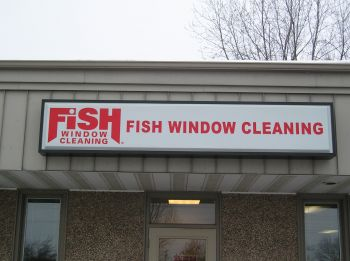 Illuminated Sign - Wall Cabinet - Fish Window Cleaning