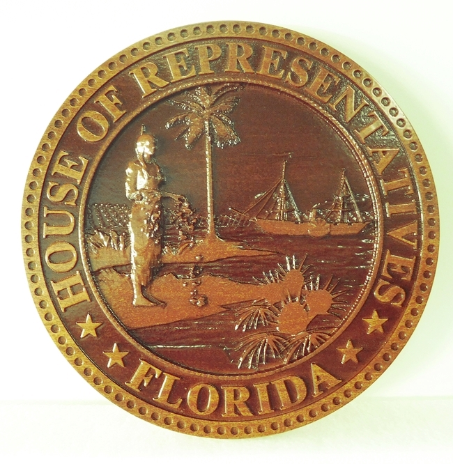 W32113D- Carved Mahogany Plaque of the Seal of the Florida House of Representatives (featuring old style Florida seal)