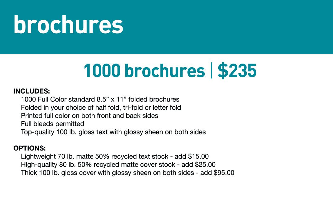 SBB Brochures- Std lead time 5-7 business days