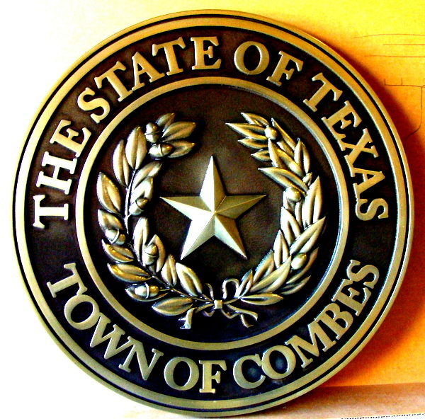 W32483  - Brass 3-D Wall Plaque of the Great Seal of the State of Texas, with dark patina