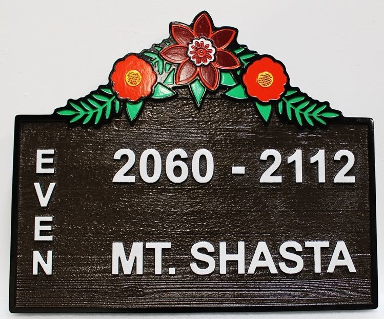 KA20843A - Carved and Sandblasted Cedar Apartment Complex Unit NumberSign., with Flowers and Leaves as Artwork