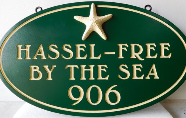 """L21503 - Property Name Sign """"Hassel-free-by-the-Sea"""" with Starfish"""