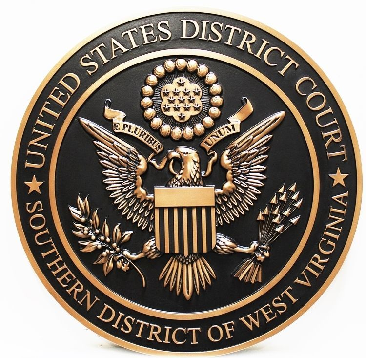 FP-1387 - Carved 3-D Bronze-Plated HDU Plaque of the  Seal of the United States District Court, Southern District of West Virginia