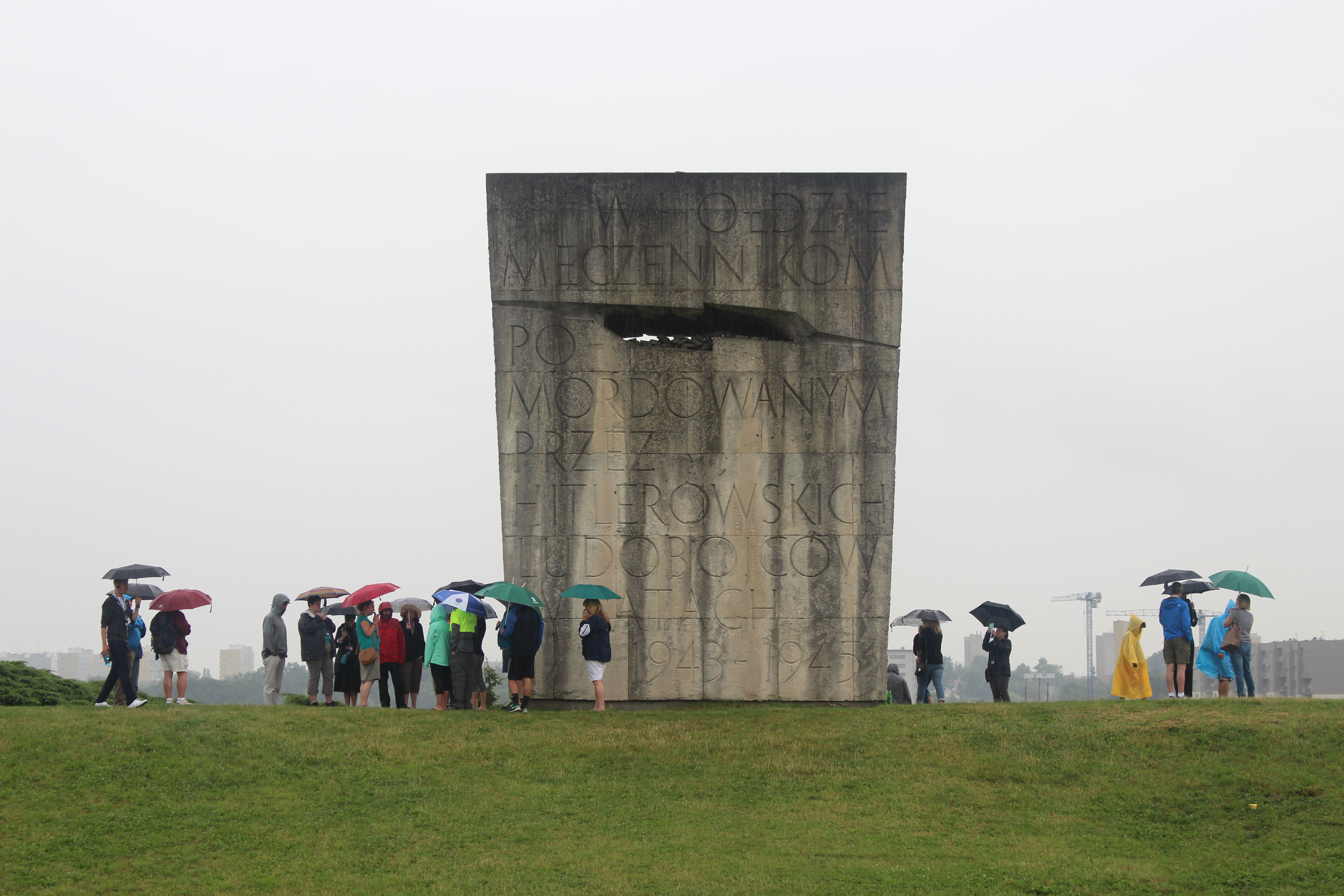 Back of the Płaszów Concentration Camp Memorial Statue