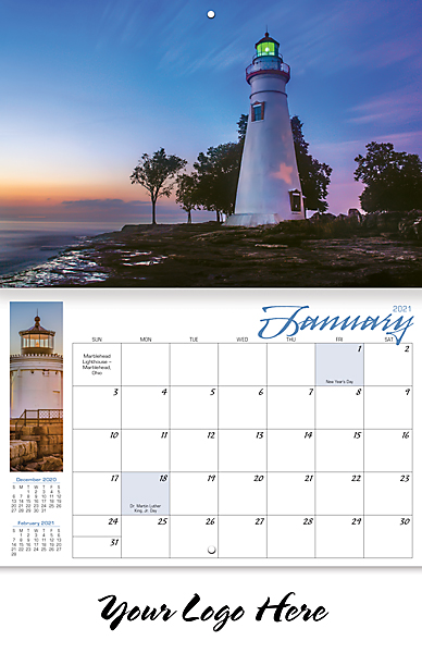 LIGHTHOUSES 13-MONTH CALENDAR