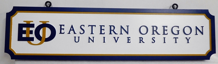 FA15536 - Carved HDU Entrance Sign for Eastern Oregon University, 2.5-D Multi-level Raised Relief