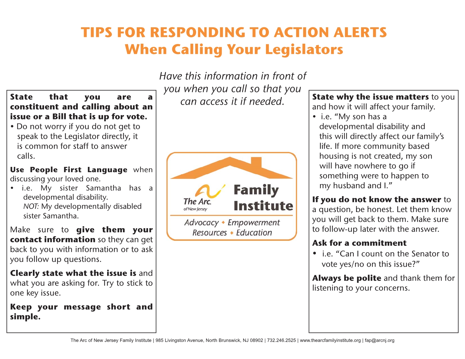 Tips for responding to action alerts when calling