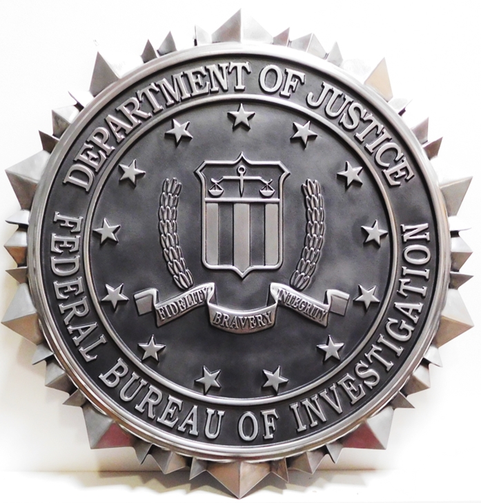 AP- 2410- Carved Plaque of the Seal of the US Department of the Federal Bureau of Investigation (FBI), 3-D Aluminum-Plated