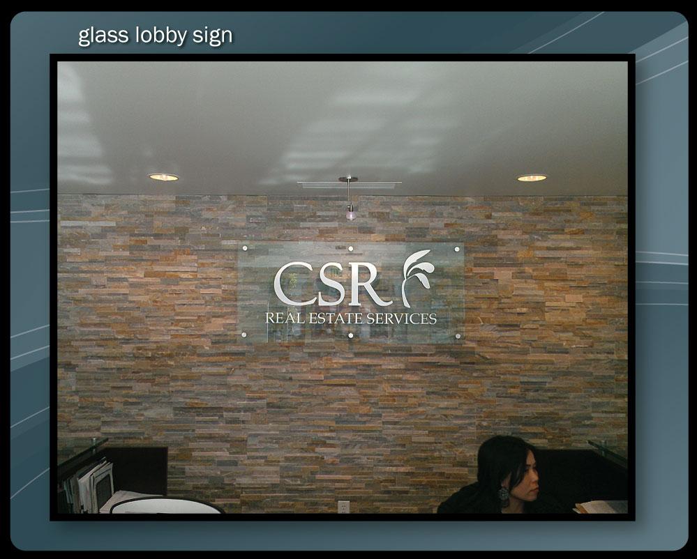 GLASS LOBBY SIGN