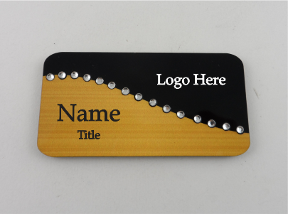 Two Tone Swirl Bling Name Badge