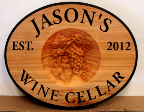R27348 - Personalized Carved Cedar Wall Plaque for Wine Cellar, with 3D Carving of Grape Cluster