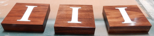KA20915 - Engraved Letters on 2-inch Carved Mahogany Wood CNC Carved Blocks