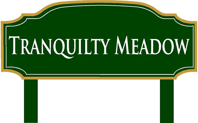 GC16260- Carved HDU Tranquility Meadow Cemetery Area Identification Sign, with Aluminum Posts