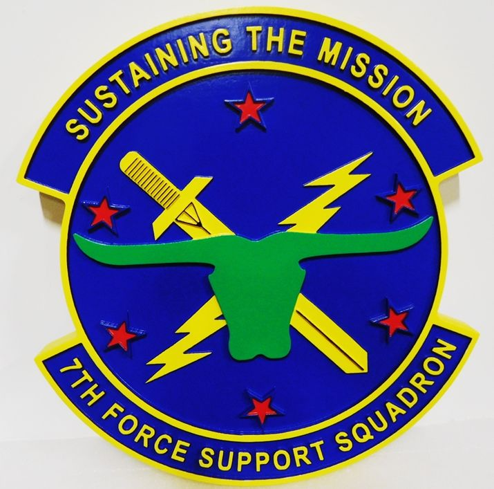 LP-4025  - Carved Plaque of the Crest of the 7th Force Support Squadron, 2.5-D Artist-painted, with Crossed-Swords and Longhorn  Head