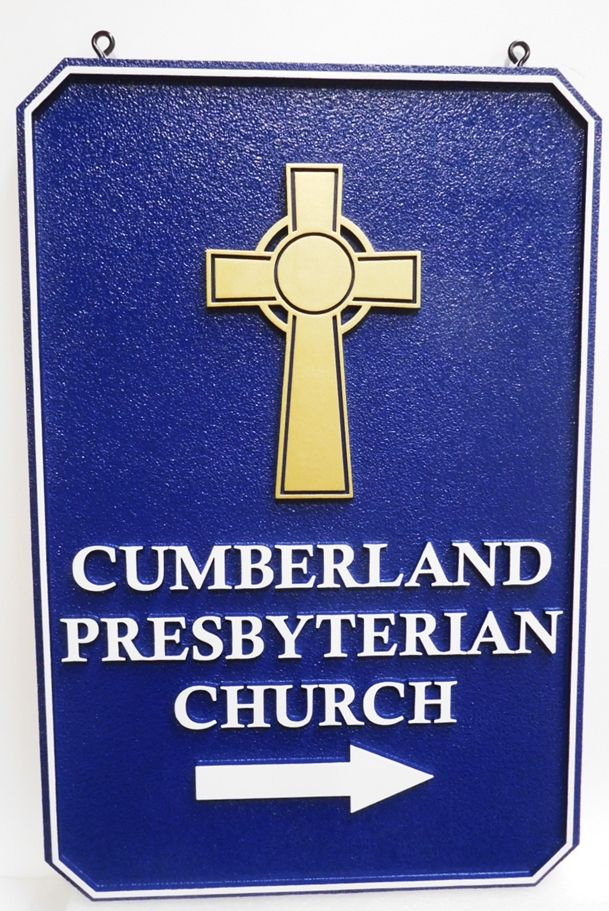 D13086 - Carved  and Sandblasted HDU Directional  Sign for the  Cumberland Presbyterian Church, 2.5-D Raised Relief Artist-Painted