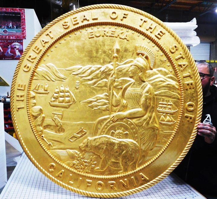 BP-1070 - Carved Plaque of the Seal of the State of California,24K Gold Leaf Gilded