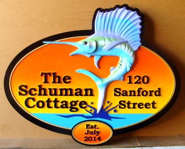 "L21362  – Carved 3-D HDU Coastal Home Address  Sign, ""The Schumann Cottage"", with Leaping Sailfish"