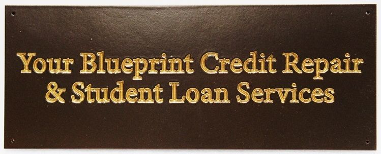 """C12245 - Carved and Engraved Stained Cedar Sign for  """"Your Blueprint Credit Repair & Student Loan Service"""" , with 24K Gold-Leafed Text"""
