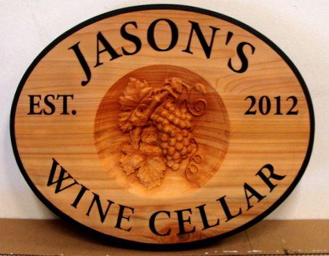 M3746 - Carved 3D Cedar Plaque for Jason's Wine Cellar (Gallery 26)