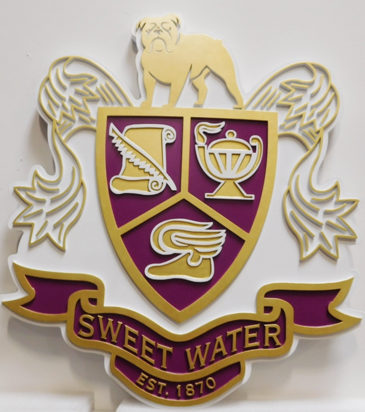 XP-3260 - Carved Coat-of-Arms /Crest for Sweetwater High School, 2.5-D Artist-Painted