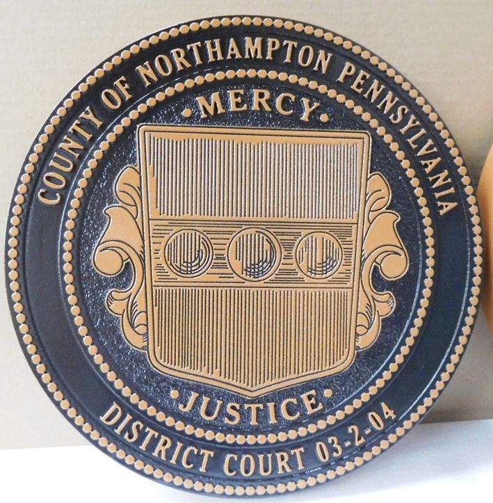 GP-1385 - Carved Plaque of the Seal of a Pennsylvania District Court, Bronze with Hand-Rubbed Black Paint