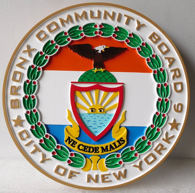 X33029 - Carved 2.5-D Wall Plaque of the Seal of the Bronx Community Board in New York City.