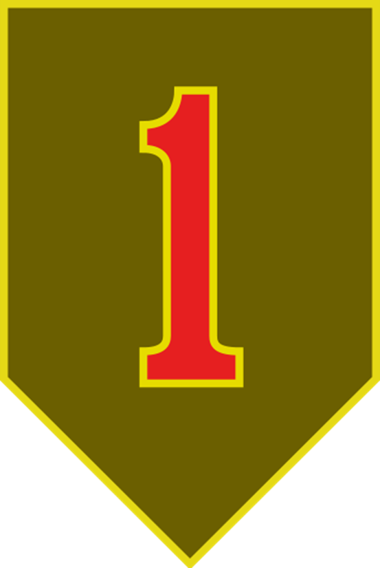 """MP-1480 - Carved Plaque of the  Insignia of the 1st  Infantry Division of the US Army, the """"Big Red One"""",  Artist Painted"""