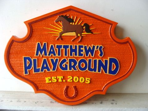 GA16542 - Carved HDU Sign for Child's Playground, with Horse