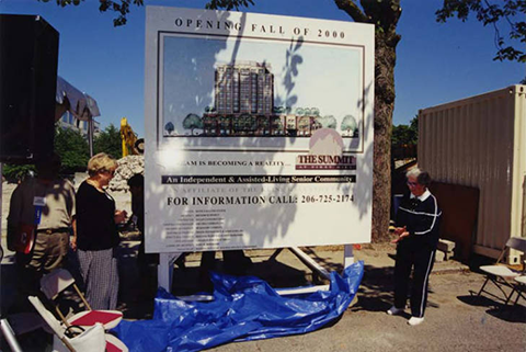 Cora Gray and Bernice Stern at the groundbreaking ceremony for The Summit at First Hill, July 11, 1999