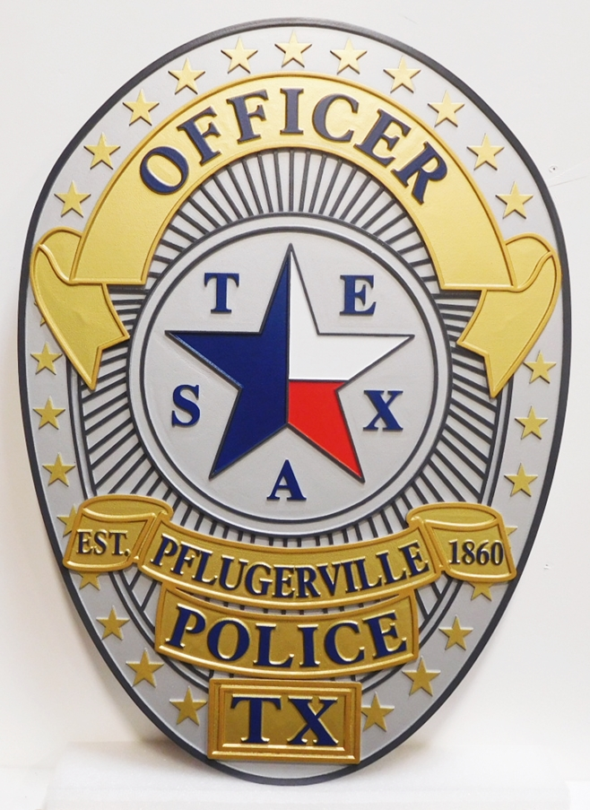 PP-1330 - Carved Plaque of the Badge of the Pflugerville Police, Texas, Artist-Painted