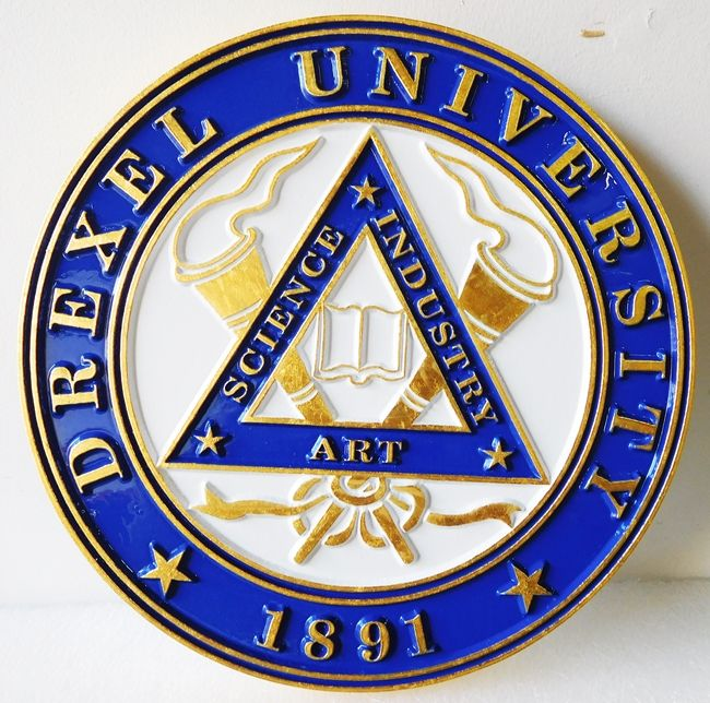 RP-1360 - Carved Wall Plaque of  the Seal of Drexel  University, Gold Leaf Gilded