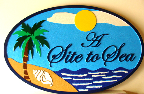 "L21008 - Carved Beachfront Home Sign, ""A Site to Sea"", with Ocean, Beach, Palm Tree and Conch Shell"