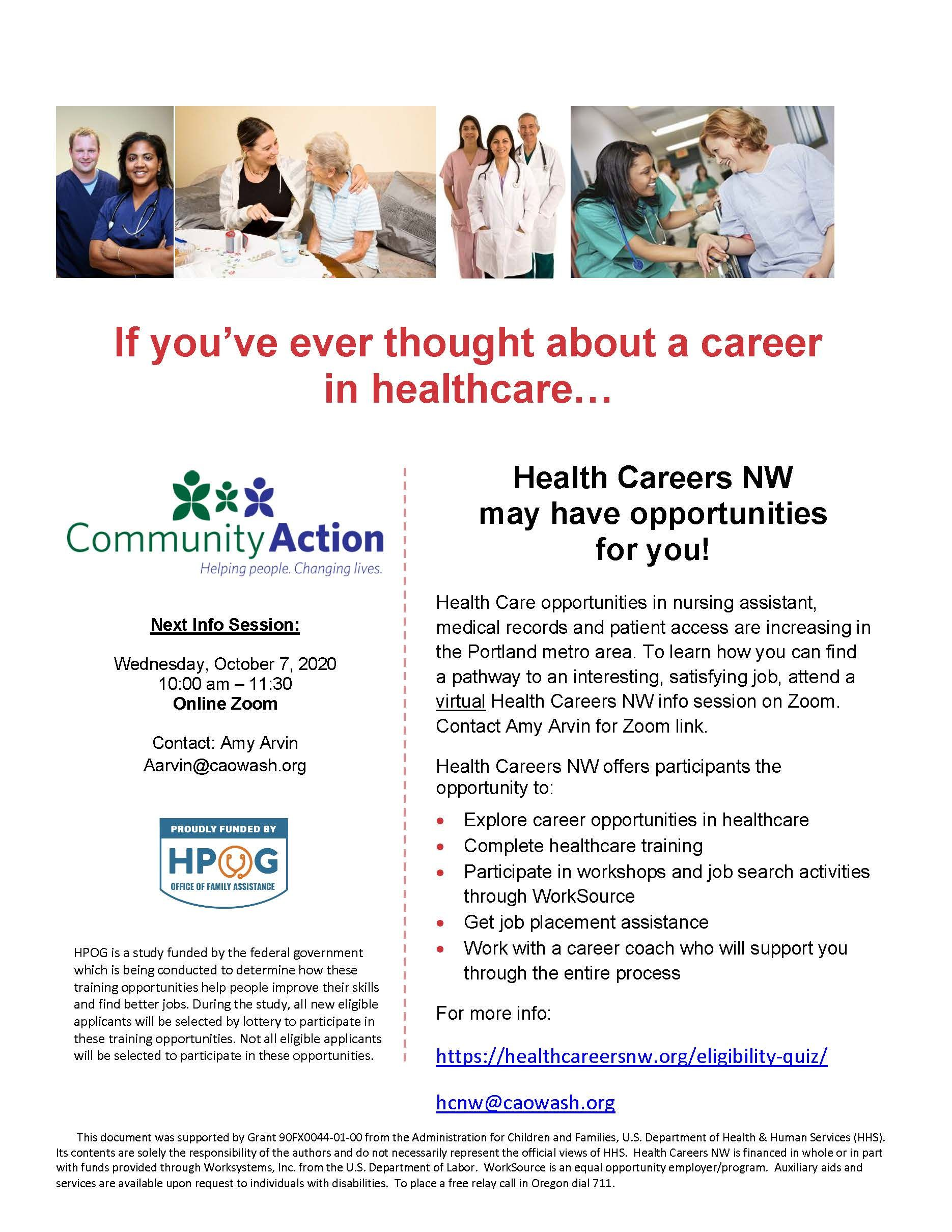 Health Careers NW Info Session