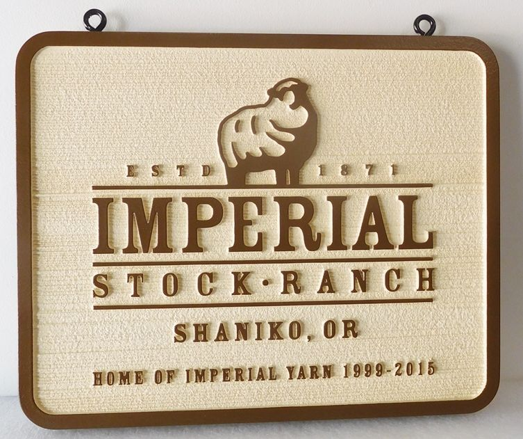 "O24422 - Carved and Sandblasted HDU  Sign for the Entrance to ""Imperial Stock Farm Ranch"""