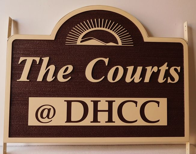 "K20222  - Carved HDU Sign,  for ""The Courts"" apartment Complex. with Wood Grain Sandblasted Background"