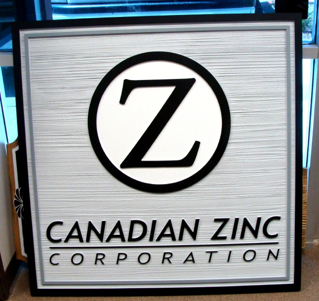 SA28550 - Carved and Sandblasted Wood-Grain Sign for Canadian Zinc Corporation with its Logo.