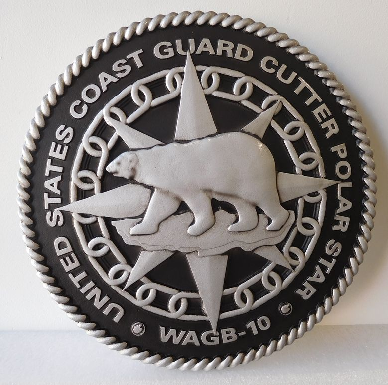 NP-2120- Carved Plaque of Seal of US Coast Guard Cutter Polar Star, WAGB-10, Painted Silver Metallic with Hand-Rubbed Black