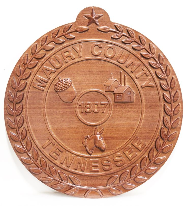 CP-1316 - Carved Seal of  Maury County, Tennessee, 3-D Mahogany