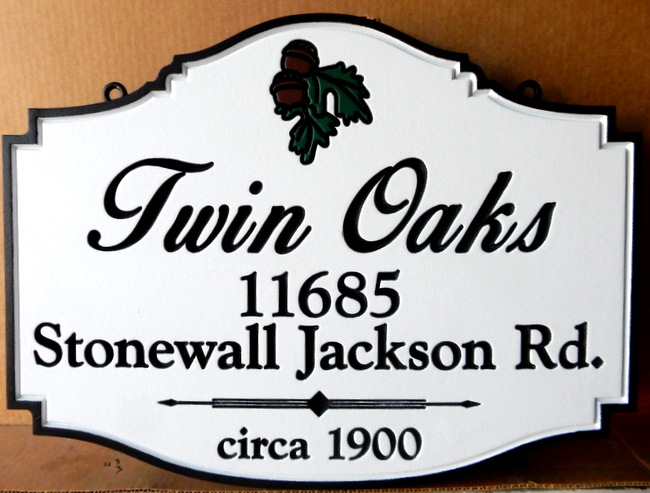 I18332 - Elegant Engraved Residence Name and Address Sign, with Carved Oak Leaf and Acorn Cluster