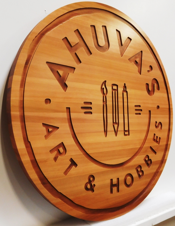SA28070 - Carved and Engraved Western Red Cedar sign for  Ahuya's Art & Hobbies Store, 2.5-D with Paintrush and Pencil as Artwork