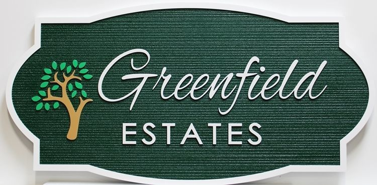 K20418 - Carved 2.5-D and Sandblasted Wood Grain HDU Entrance sign for the Greenfield Estates, with a Stylized Tree as Artwork