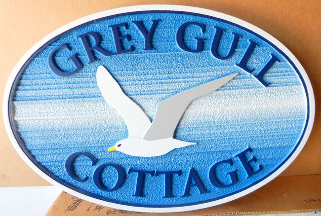 """L21614 - Carved HDU Property Name Sign """"Grey Gull Cottage"""" with Sea Gull in Flight"""