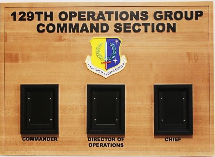 SA1395- Redwood Command Board for Air Force 4th Security Forces Squadron, with Carved Shield Crest and Photo Frames