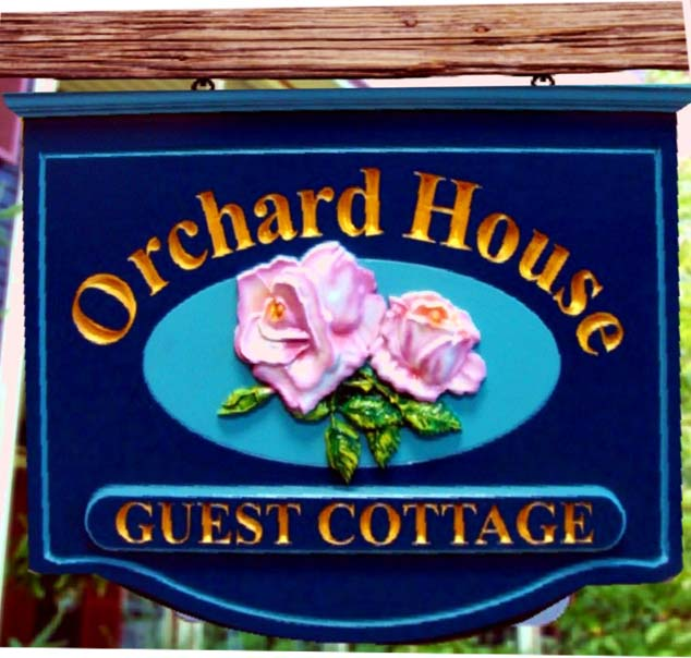 T29028 - Carved 3-D Rose Flower B&B Hanging Sign