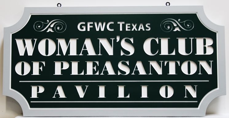 "GA16539 -  Engraved High-Density-Urethane (HDU) ""Women's Club of Pleasanton Pavilion""  Sign"