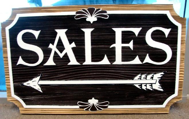 "SA28556 -   Sandblasted Redwood Sign for the  ""Cripple Creek Rock Company"" with Directional Arrow"