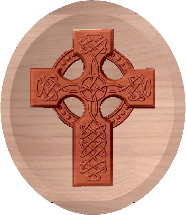 D13371 - Carved Celtic Cross Wall Plaque
