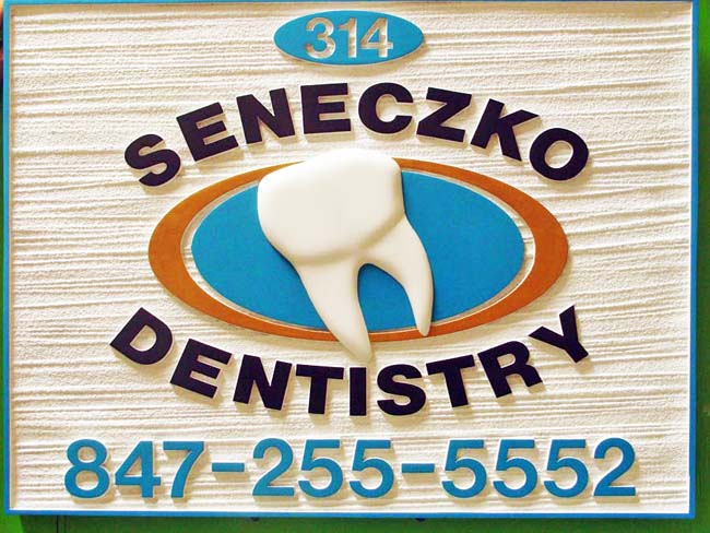 BA11605 - Sandblasted HDU Wall or Hanging Dentist Office  Sign with Wood Grain.