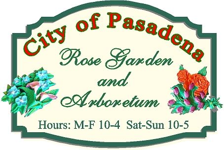 GA16506 - City Park and Garden Sign with 3D Carved Flowers